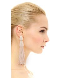 Oscar de la Renta - White Long Bugle Bead Tassel Clip On Earrings - Lyst