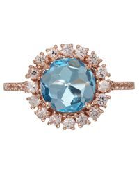 Suzanne Kalan | Blue Rose Gold Kiwi Topaz Ring | Lyst