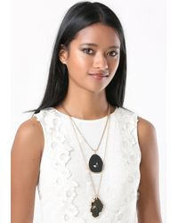 Bebe | Black Layered Pendant Necklace | Lyst