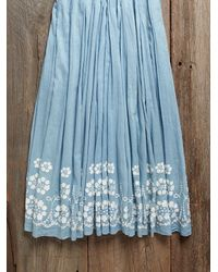 Free People - Vintage Blue Embroidered Dress - Lyst