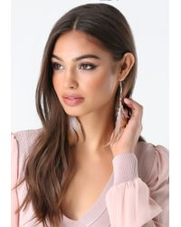 Bebe - Pink Feather & Crystal Earrings - Lyst