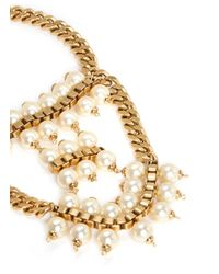 Ela Stone | White 'Celia' Box Chain Faux Pearl Tier Necklace | Lyst