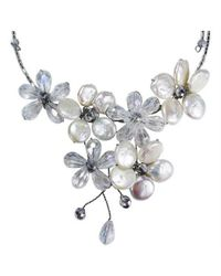 Aeravida | White Coin Freshwater Silver Pearl-crystal Floral Paradise Cluster Choker | Lyst
