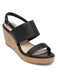 Vince Camuto | Black Ansel Espadrilles Wedge Leather Sandals | Lyst