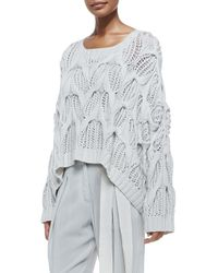 Donna Karan - White Cashmere Oversized Boat-Neck Sweater - Lyst