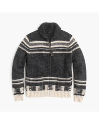 J.Crew | Gray Cotton-merino Wool Shawl-collar Zip-up Cardigan Sweater for Men | Lyst