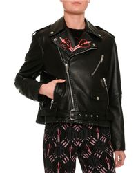 Valentino - Black Love Blade Embroidered Leather Moto Jacket - Lyst