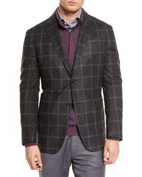 Ermenegildo Zegna - Black Windowpane Two-button Silk Blazer for Men - Lyst