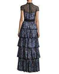 Alice + Olivia Blue Mckee Mock-neck Tiered Printed Satin Maxi Dress W/ Lace