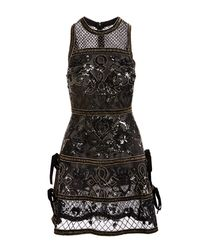 Elie Saab - Black Embellished Cocktail Dress With Velvet Ties - Lyst