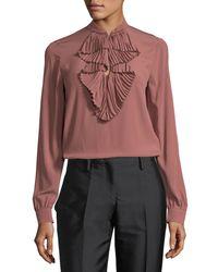 N°21 - Pink Ruffle-front Long-sleeve Silk Shirt W/ Embellishments - Lyst