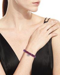 Sydney Evan | Pink 12mm Beaded Ruby Rondelle Bracelet With Diamond Lips Charm | Lyst