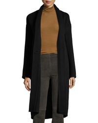 Vince - Black High-collar Crossover-front Wool Top Coat - Lyst