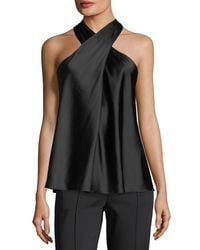 A.L.C. - Black Arvid Sleeveless Halter Silk Satin Top - Lyst