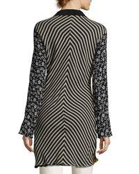 Etro | Black Floral Silk Shirt Coat | Lyst