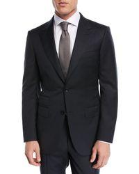 Ermenegildo Zegna Blue Tonal Plaid Two-piece Suit Black for men