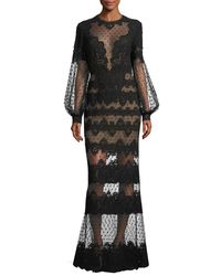 Elie Saab - Black Lace-embroidered Swiss Dot Gown - Lyst