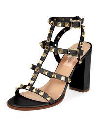 c25c57bb67d Valentino Rockstud Leather Block-heel Sandal in Black - Lyst