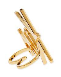 Lanvin - Metallic Two-finger Golden Kiss Ring - Lyst