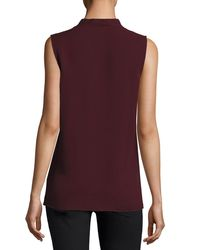 Theory - Purple Crossover Silk Shell Top - Lyst