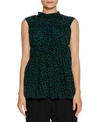 Marni   Green Ruched Sleeveless Geometric-print Top   Lyst