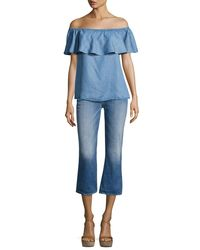 7 For All Mankind - Blue Cropped Boot Denim Jeans - Lyst