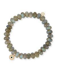 Sydney Evan - Gray 8mm Labradorite Bead Bracelet W/14k Gold Diamond Disc Charm - Lyst