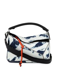 Loewe - Blue Puzzle Tie-dye Denim Satchel Bag - Lyst