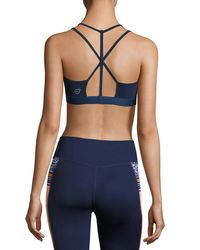 PUMA - Blue Yogini Strappy-back Performance Sports Bra - Lyst