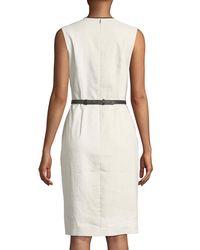 Elie Tahari - White Volumnia Belted Sleeveless Dress - Lyst