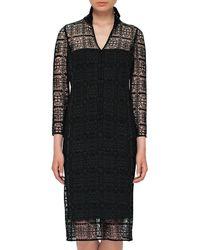 Akris | Black Eve Crocheted Bracelet-sleeve Shirtdress | Lyst