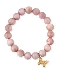 Sydney Evan - Purple Round Kunzite Beaded Bracelet With Diamond Butterfly Charm - Lyst