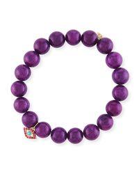 Sydney Evan - 10mm Purple Mountain Jade Beaded Bracelet With Ruby & Turquoise Evil Eye Charm - Lyst