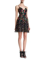 Elie Saab - Multicolor Sleeveless Embroidered Fit-and-flare Dress - Lyst