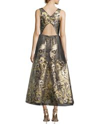 Notte by Marchesa - Metallic Sleeveless Floral Lamé Fil Coupe Cocktail Dress - Lyst
