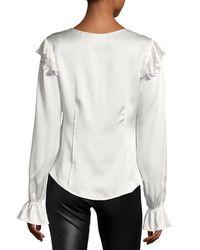 Cinq À Sept White Cassanova Tie-neck Button-front Silk Satin Blouse