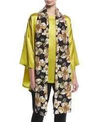 Eskandar - Black Floral-print Silk Scarf - Lyst