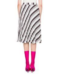 Balenciaga - Black Pleated Sunray Striped Midi Skirt - Lyst