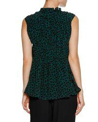 Marni - Green Ruched Sleeveless Geometric-print Top - Lyst