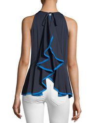 MILLY - Blue Holly Stretch Silk Top With Binding Detail - Lyst