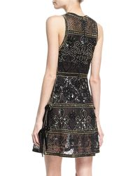 Elie Saab | Black Embellished Cocktail Dress With Velvet Ties | Lyst