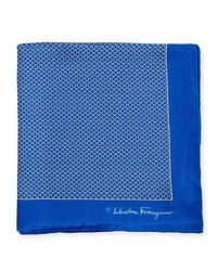 Ferragamo | Blue Party Gancini-print Pocket Square for Men | Lyst