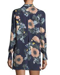 Joie - Blue Amaranda Collared Floral-print Silk Mini Dress - Lyst