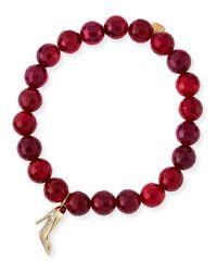 Sydney Evan | Beaded Red Agate Bracelet With Diamond Stiletto Charm | Lyst