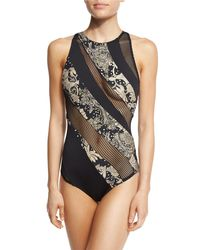 Carmen Marc Valvo - Black Ornamental Floral Mesh High-neck One-piece Swimsuit - Lyst