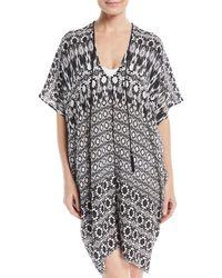 Marie France Van Damme - Black V-neck Half-sleeve Silk Printed Coverup Dress - Lyst