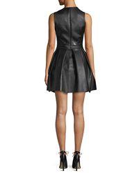 David Koma - Black Lamb Leather Fit-and-flare Pleated Mini Dress - Lyst