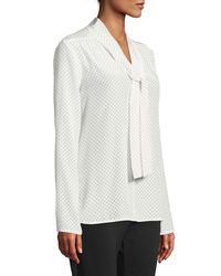 Max Mara - White Adelmo Tie-neck Long-sleeve Dot-print Silk Blouse - Lyst