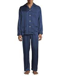 Derek Rose - Blue Bengal-stripe Silk Satin Pajamas for Men - Lyst