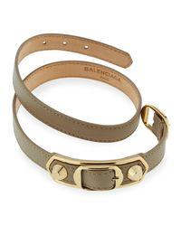 Balenciaga - White Metallic Edge Wrap Bracelet - Lyst